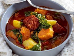 Portugiesische Süßkartoffel-Suppe mit Wurst Rezept