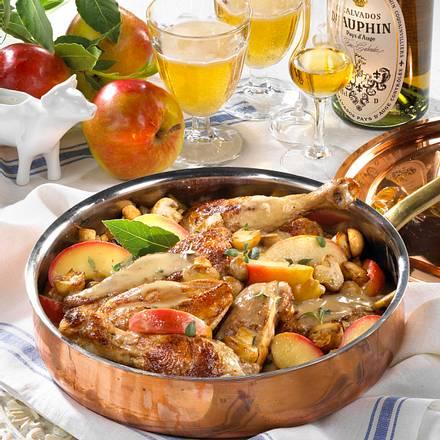Poulet Vallée d'Auge (Hühnchen mit Calvados & Cidre) Rezept