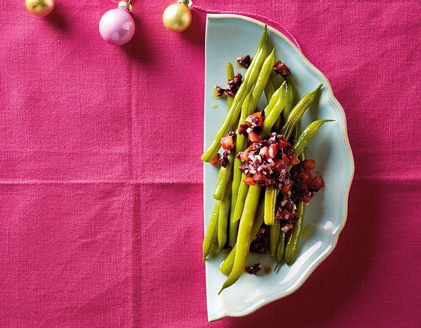 Prinzessbohnen mit Oliven-Tomaten-Tapenade Rezept