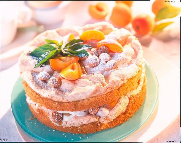 Prosecco-Schaumtorte mit Aprikosen und Amaretti Rezept