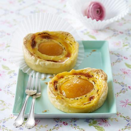 Pudding-Pfirsich-Tarteletts Rezept