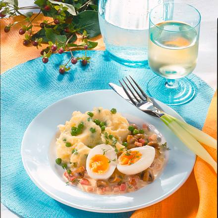 Pürree mit Pilzen & Ei Rezept