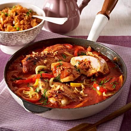 Puszta-Schnitzelpfanne mit Tomatenreis Rezept