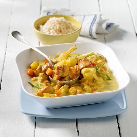 Puten-Curry-Gulasch mit Reis Rezept