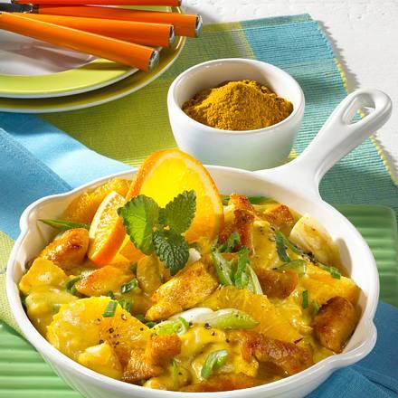 Puten-Geschnetzeltes in Curry-Orangensoße Rezept