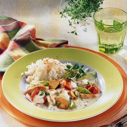Puten-Geschnetzeltes mit Reis Rezept