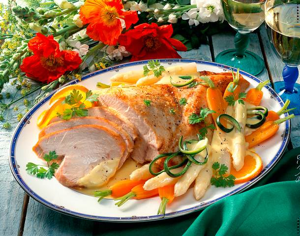 Putenbrust mit Gemüse & Orangensoße Rezept