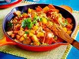 Putenbrust mit Mango, Kürbis und roten Linsen Rezept