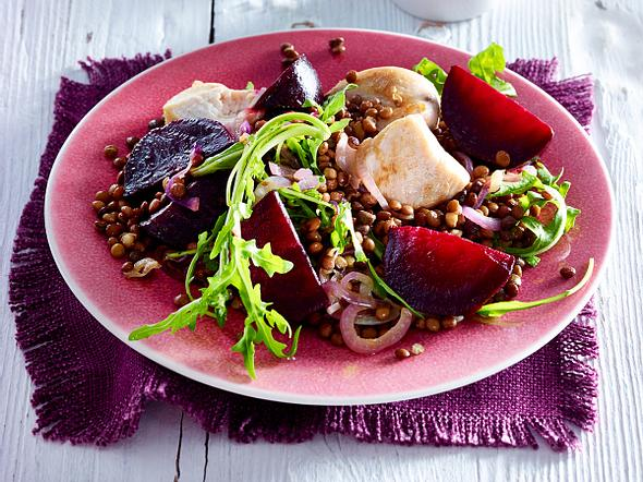 Putenpfanne mit Roter Bete und Linsen Rezept