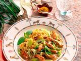 Putengeschnetzeltes mit Curry-Rosinen-Reis Rezept