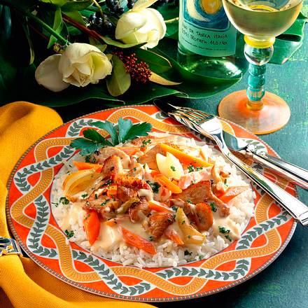 Putengeschnetzeltes mit Reis Rezept