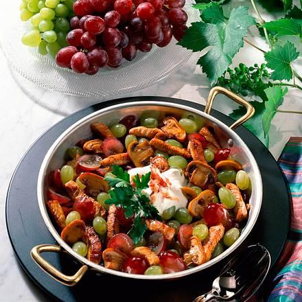 Putengeschnetzeltes mit Weintrauben Rezept