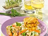 Putengulasch mit Möhren, Kohlrabi, Erbsen und Kräutersoße zu Rösti Rezept
