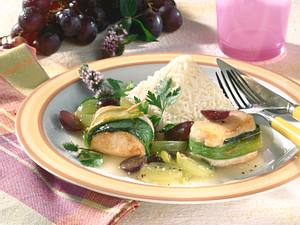 Putenmedaillons mit Traubensoße Rezept