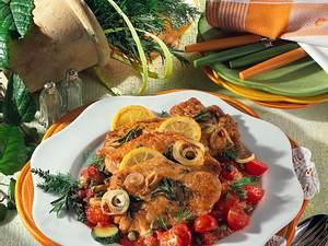 Putenschnitzel auf Schmorgemüse Rezept