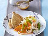 Putenschnitzel im Sesammantel zu süß-saurem Möhren-Zuckerschoten-Gemüse mit Sprossen Rezept
