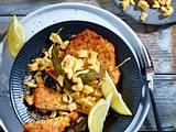 Putenschnitzel in Kümmelpanade zu Butterspätzle und frittiertem Salbei Rezept