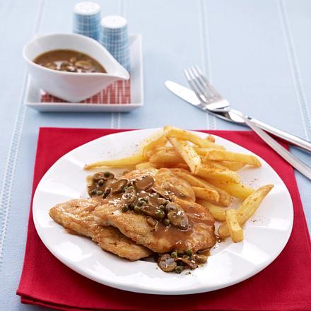 putenschnitzel in pilzso e mit pommes frites rezept chefkoch rezepte auf kochen. Black Bedroom Furniture Sets. Home Design Ideas