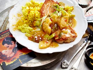 Putenschnitzel mit Ananas und Kokos-Curry-Reis Rezept