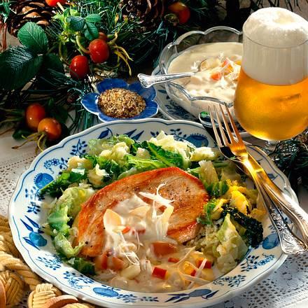 Putenschnitzel mit Apfel-Meerrettichsoße Rezept