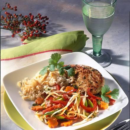 Putenschnitzel mit Asia-Gemüse (Diabetiker) Rezept