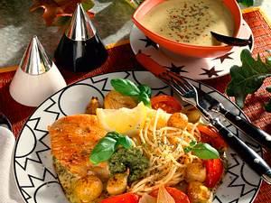 Putenschnitzel mit Gemüse und Spaghetti Rezept