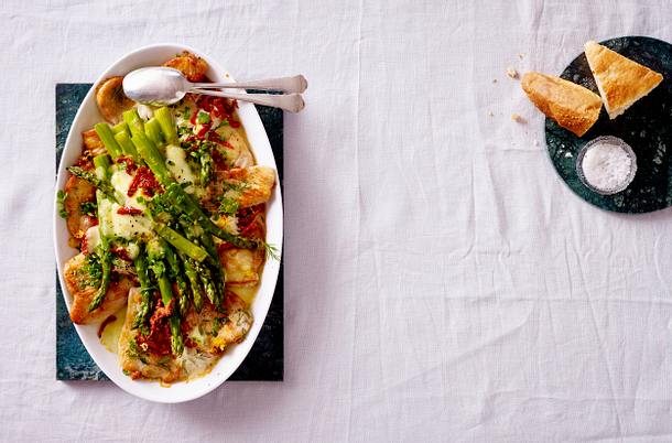 Putenschnitzel mit gratiniertem grünem Spargel Christina Richon Rezept