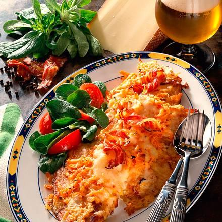 Putenschnitzel mit Käse-Möhrenkruste Rezept