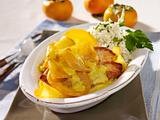 Putenschnitzel mit Kaki-Sahne und Petersilien-Reis Rezept