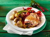Putenschnitzel mit Mangold-Salamifüllung Rezept