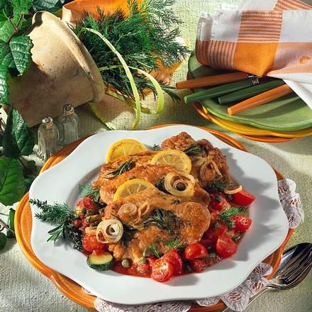 Putenschnitzel mit Paprikakruste und Tomaten-Zucchini Rezept