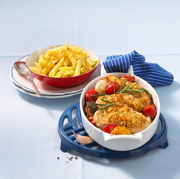 Putenschnitzel mit Parmesanstreuseln Rezept
