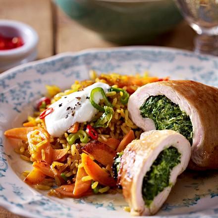 Putenschnitzel mit Spinatfüllung und Gemüse-Bratreis Rezept