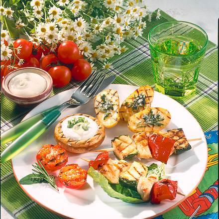 Putenspieße & Gemüse vom Grill Rezept