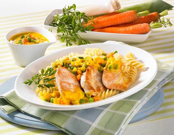 Putensteak mit Gemüsesoße Rezept