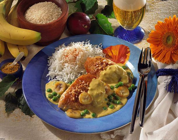 Putensteaks in Bananen-Curry-Creme Rezept