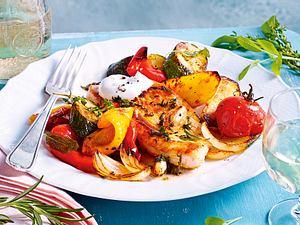 Putensteaks mit Sommerkräutern und Schmorgemüse Rezept