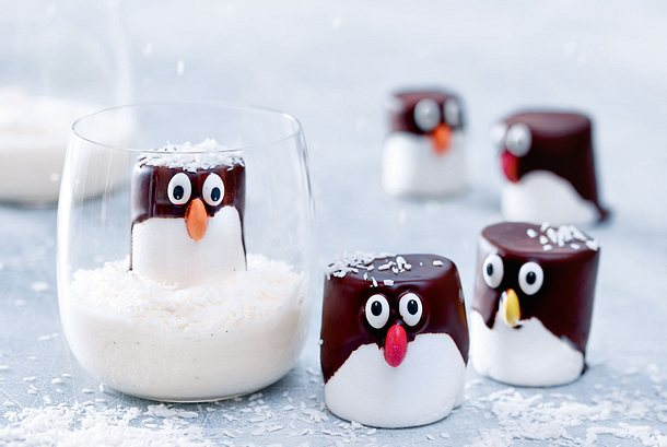 Putzige Pinguine im ewigen Kokoscremeeis Rezept