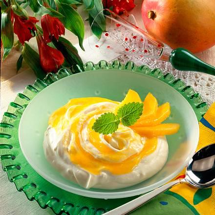 Quark-Mascarpone-Creme mit Mangopüree Rezept
