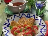 Quark-Sesampfannkuchen mit Champignon-Tomaten Rezept