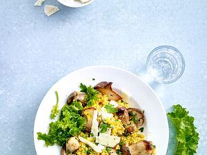 Quinoa-Risotto mit Pilzen und mariniertem Grünkohl Rezept