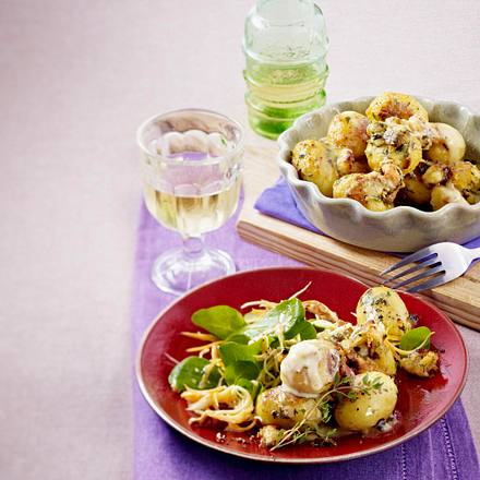 Raclettekartoffeln mit Spinatsalat Rezept