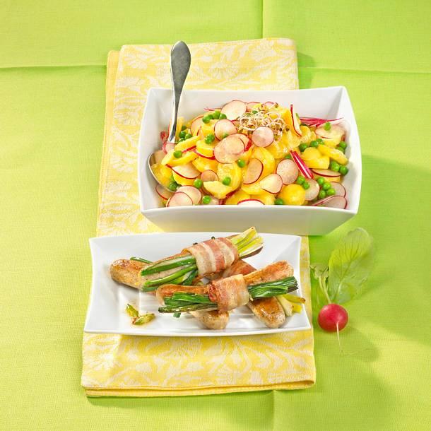 Radieschen-Kartoffelsalat mit Würstchen Rezept