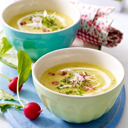Radieschen-Kresse-Suppe mit Speckwürfelchen Rezept