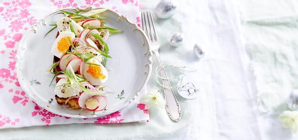 Radieschensalat mit Mascarponenocken und Forellenkaviar Rezept