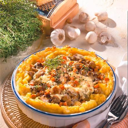 Rahm-Champignons im Kartoffelbett Rezept