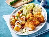 Rahm-Speck-Kartoffeln mit knusprigen Hähnchennuggets Rezept