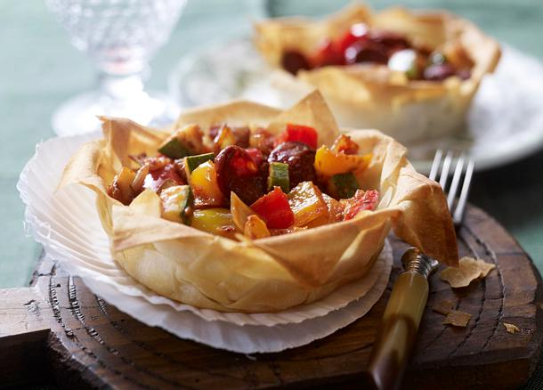 Ratatouille-Chorizo-Tarteletts Rezept
