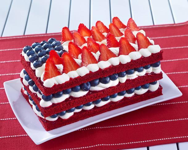 Red Velvet Flag Cake Rezept