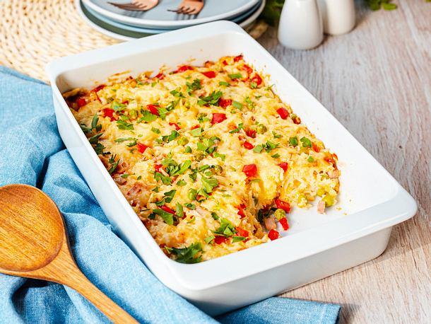 Reis-Auflauf-mit-Schinken-und-Erbsen-Rezept